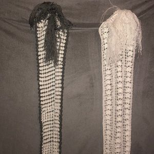 Two hand knitted scarves